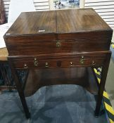 19th century mahogany dressing table top, the two leaves folding out to reveal compartmentalised