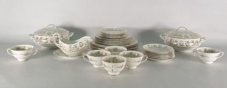Part Coalport porcelain dinner service 'Allegro' pattern, with white ground and gold floral