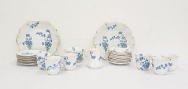 Royal Stafford English bone china blue and white teaset, decorated with floral sprays