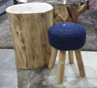 Cross-section tree side tableand a small stool(2)