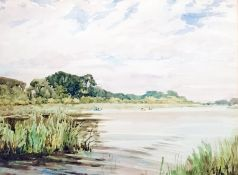 20th century Watercolour drawing River scene, unsigned