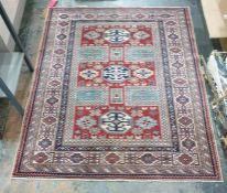 Wool on cotton Shirvan carpet from Nomadic Art Gallery, Turkey, with certificate, red ground