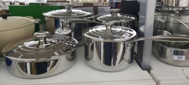 Four stainless steel Le Creuset pans with lids (4)  Condition ReportSee extra photo's