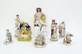 Ten assorted figures of figural groups including pair of Dresden figures of children feeding some