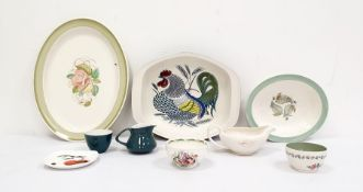 Poole Pottery oven-to-tableware bowl decorated with a chicken, together with various Susie Cooper