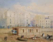 C H Cooke Watercolour drawing Brighton seafront lifeboat station, in mount marked 'Presented to