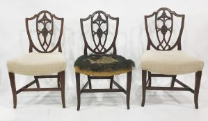 Set of three Hepplewhite style shield shaped back mahogany dining chairson square sectioned