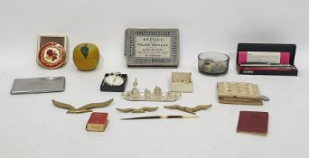 Bezique and Polish Bezique card maker's game in original box,Oriental counters, two silver pill
