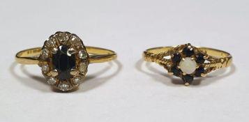 Two ladies 9 ct dress rings