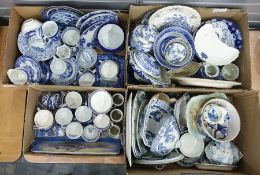Large quantity of blue and white china (4 boxes)