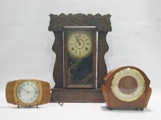 Late 19th/early 20th century American mantel clockin carved Art Deco style oak case, the movement