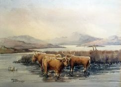 Peter Whitworth Watercolour drawing Highland cattle watering, 26.5cm x 36.5cm Unattributed