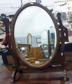 20th century oak-framed dressing table swing mirror