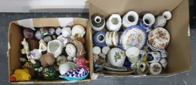 Two boxes comprising a collection of small porcelain and pottery decorative vases, trinket dishes, a