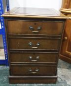 20th century mahogany and leather-topped two-drawer filing cabineton plinth base, 54cm x 77.5cm