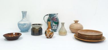 Collection of 20th century studio pottery to include jugs, vases etc., a Doulton Lambeth jug