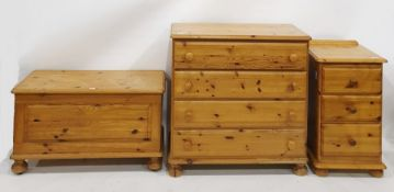 20th century pine bedroom furnitureto include chest of four drawers, blanket chest and a bedside