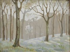 Eric Brown (20th century) Oil on panel Woodland scene, signed lower left, 26cm x 34.5cm Condition