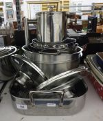 Stainless steel Le Creuset roasting dish, two lidded saucepans, two mixing bowls, etc  Condition