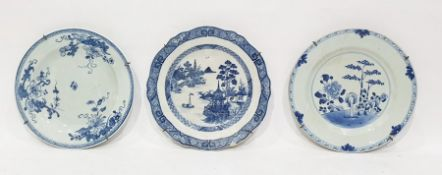 Chinese porcelain platepainted with bamboo, peony and plants in underglaze blue, 23cm diameter