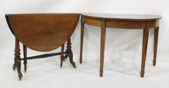 Early Victorian Pembroke table and a D-end side tableon square section tapering supports (2)