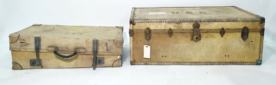 Cream leather suitcase with Finnigans label to interior and a cream leather and studded trunkwith