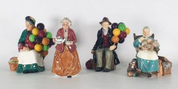 Four various Royal Doulton figurines to include 'The Old Balloon Seller' HN1315, 'Teatime'