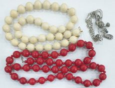 LOT WITHDRAWN - Quantity of costume jewelleryto include glass and bead necklaces etc in a copper