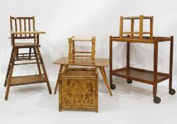 Assorted itemsto include child's vintage high chair, coffee table, two-tier tea trolley, string-