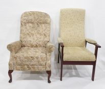 Wing-back chair and one further chair (2)