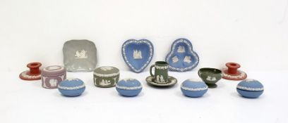 Large collection of Wedgwood blue and white, green and white, purple and white jasperware to include