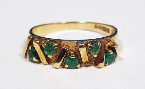 9ct and five green stone ladies dress ring