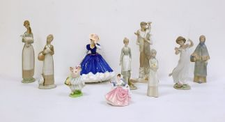 Collection of ten various porcelain figurines to include a Lladro figure of boy holding goat, a