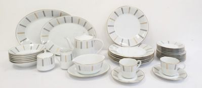 Noritake part dinner and tea service, Humoresque pattern, comprising dinner plates, soup bowls,