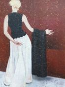 Oil on canvas Unattributed Full length portrait of a woman holding a shawl over her arm with her