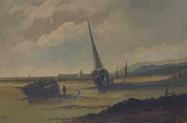 T Haynes Oil on canvas Tall-masted ship at anchor, signed lower left andanother by the same