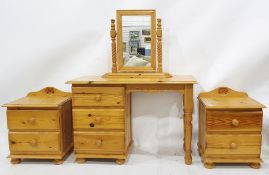 20th century pine bedroom furnitureto include dressing table, dressing table mirror and two bedside