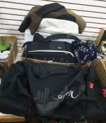 Box and bag of camera equipment including tripods, blankets, etc (2)