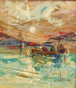 Pino La Vardera Oil on panel Fishing by moonlight, signed lower right, 20cm x 17cm