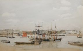 "William Thomas Martin Hawksworth (1853-1935) Watercolour drawing ""At Anchor on the Medway"", 19cm x"