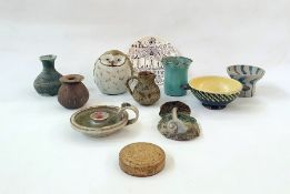 Assorted items of studio potteryto include vases, lidded vase in form of owl, etc (11)
