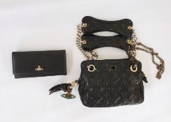 Vivienne Westwood quilted bag with gilt and silver-coloured metal chains, zip compartment,