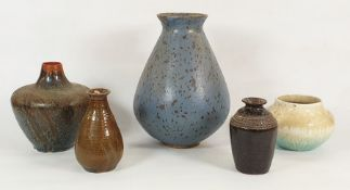 Assorted items of studio potteryto include studio pottery vase in reds and blues, dribbled