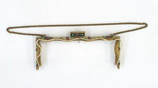 Decorated frame for an evening bag with gilt metal mount, faux seedpearls and enamel flower
