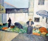 "Blackmon (20th Century) Oils on board ""Turkish Street Market"", signed lower right, inscribed and"