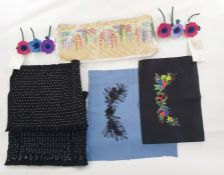 Embroideries on felt for Lulu Guinness, raffia on canvas for Lulu Guinness, felt applique flowers