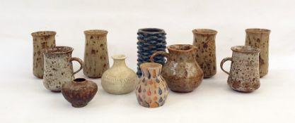 Miniature studio ovoid vase, signed HC Waterman to base, various stoneware vases and mugs, etc (11)