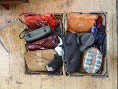 Two boxes of vintage and later handbags