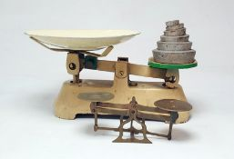 Pair brass postal scalesand set of cream and green painted balance scales (2)