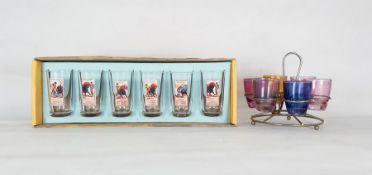 Boxed set of six Spanish 'Plaza de Toros de Madrid' souvenir shot glasses and a set of six